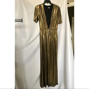 Reformation Gold Deep V Gown